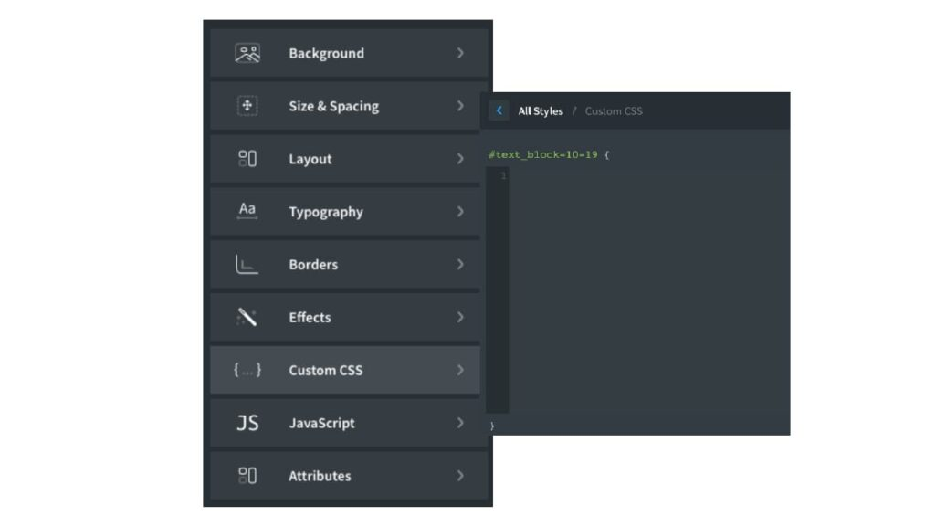 Aggiungere CSS ad un elemento con Oxygen Builder